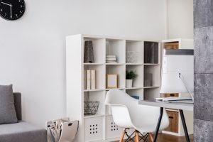 Storage shelves in travel homeworker office